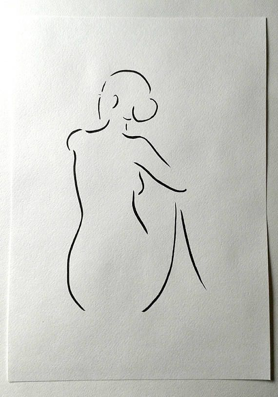 Nude Sketch Woman From Back Black And White Minimalist Line