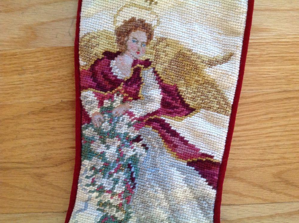 Christmas Needlepoint Angel Stocking - Burgundy Velvet Back