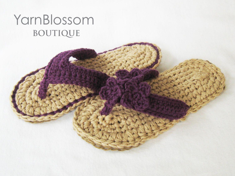 CROCHET PATTERN Indoor / Outdoor Violet Flip Flops (4 women\'s sizes ...