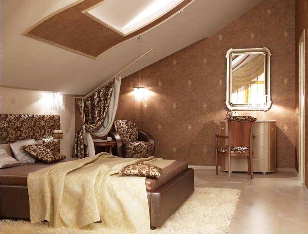 фото дизайн спальни на мансарде