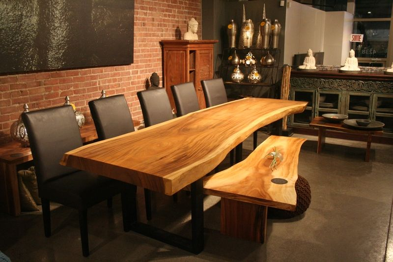 free form wood table  Freeform dining table in Suar wood with metal legs | At home ...