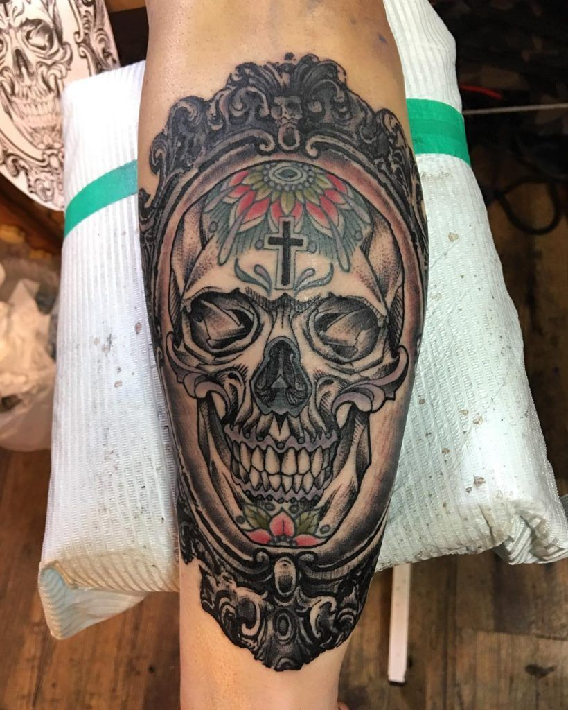 Latest 80 mexican tattoos designs ideas meanings 2016 mexican more traditional mexican tattoo with realistic looking skull on forearm flower and cross symbols biocorpaavc Images