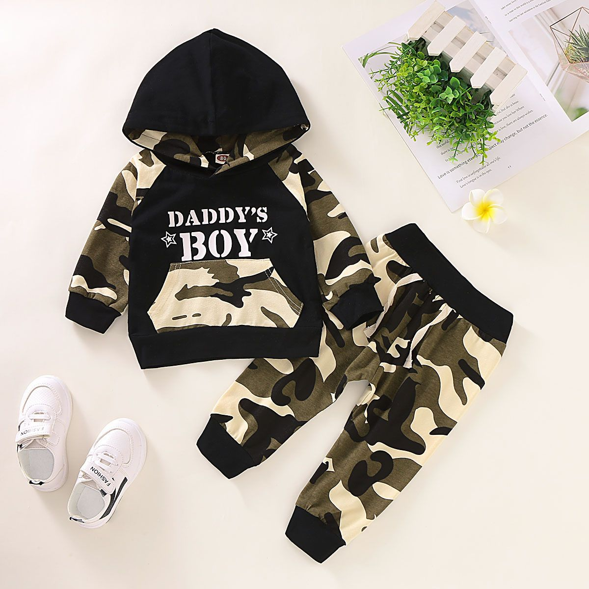 Children Baby Boys Winter Letter Tracksuit Camouflage Tops Pants 2PC Outfits Set
