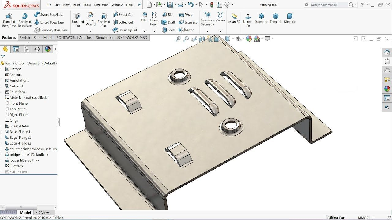 Solidworks Tutorial Sheet Metal Forming Tool Youtube In