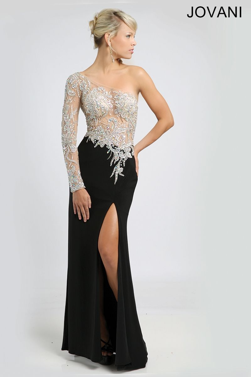 One Sleeve Black Gown 93573 | JOVANI | Pinterest