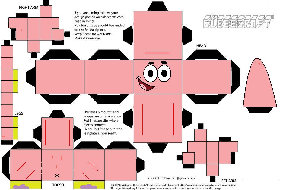 Papercraft SpongeBob SquarePants (SpongeBob Mod 1.7.10)