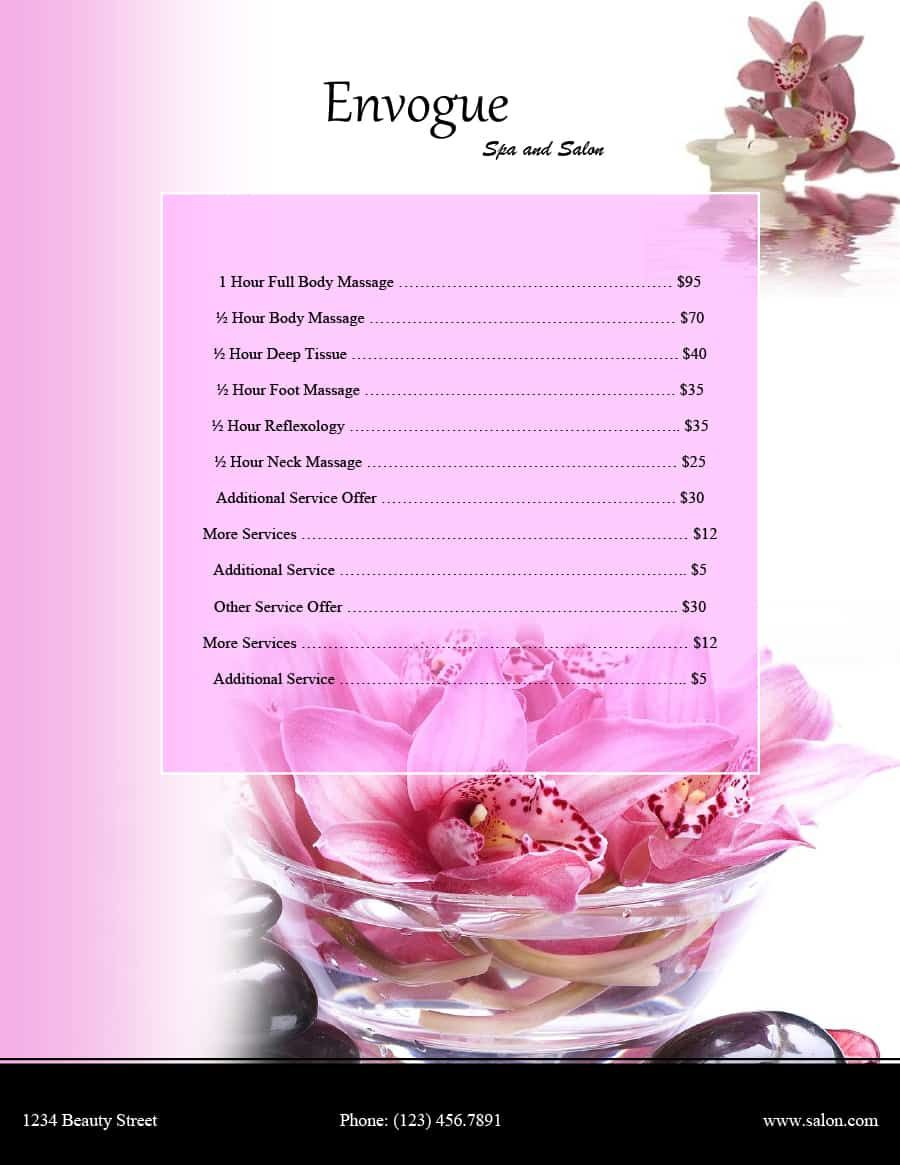 Nail Salon Price List Template : salon, price, template, Printable, Salon, Price, Template, Manicure, Trends