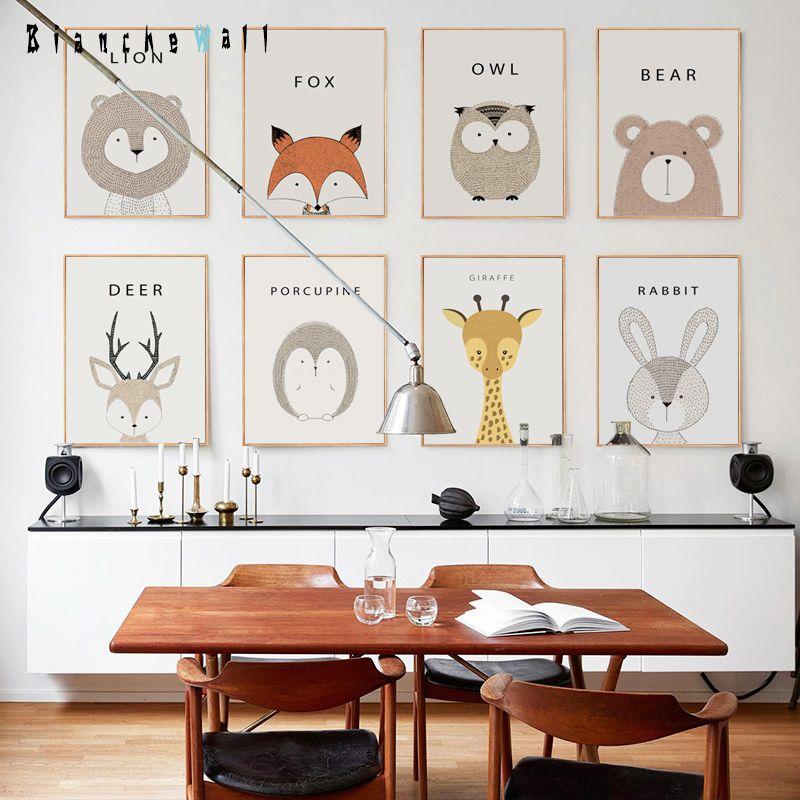 Simple mignon animal de bande dessinée toile peinture art dimpression d affiche image mur moderne décor à la maison enfant bébé chambre décoration