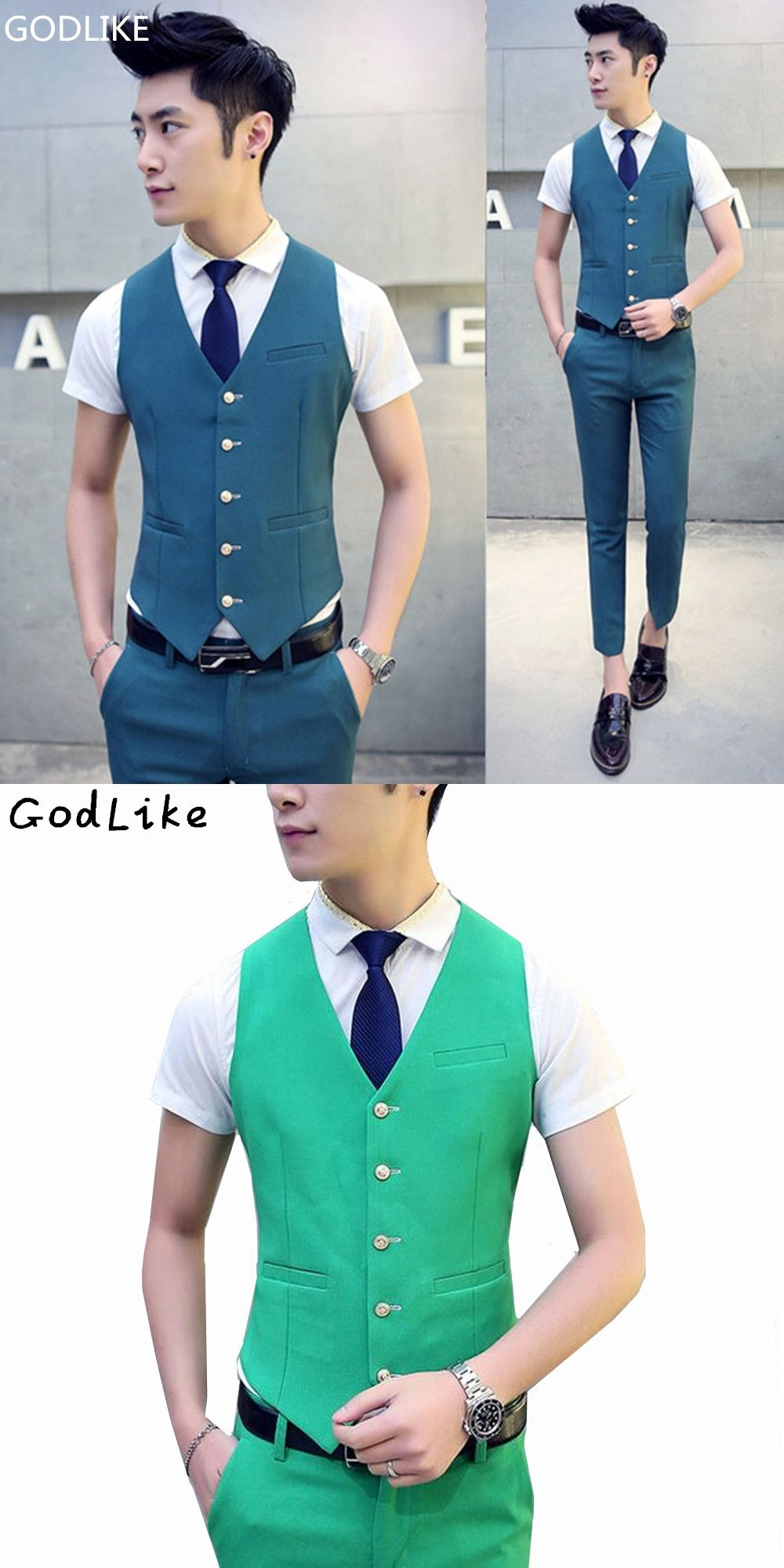 2017 New Male Wedding Suit Vest V-neck Slim Fit Fashion Mens Party ...