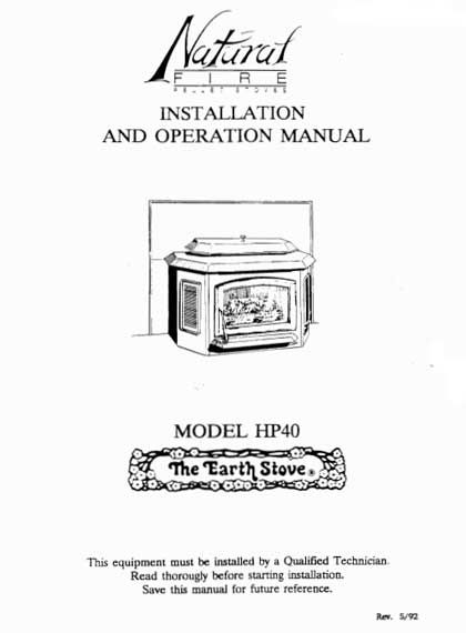 Earth Stove Traditions HP40 Owneru0027s Manual Helpful Hints Pinterest - operation manual