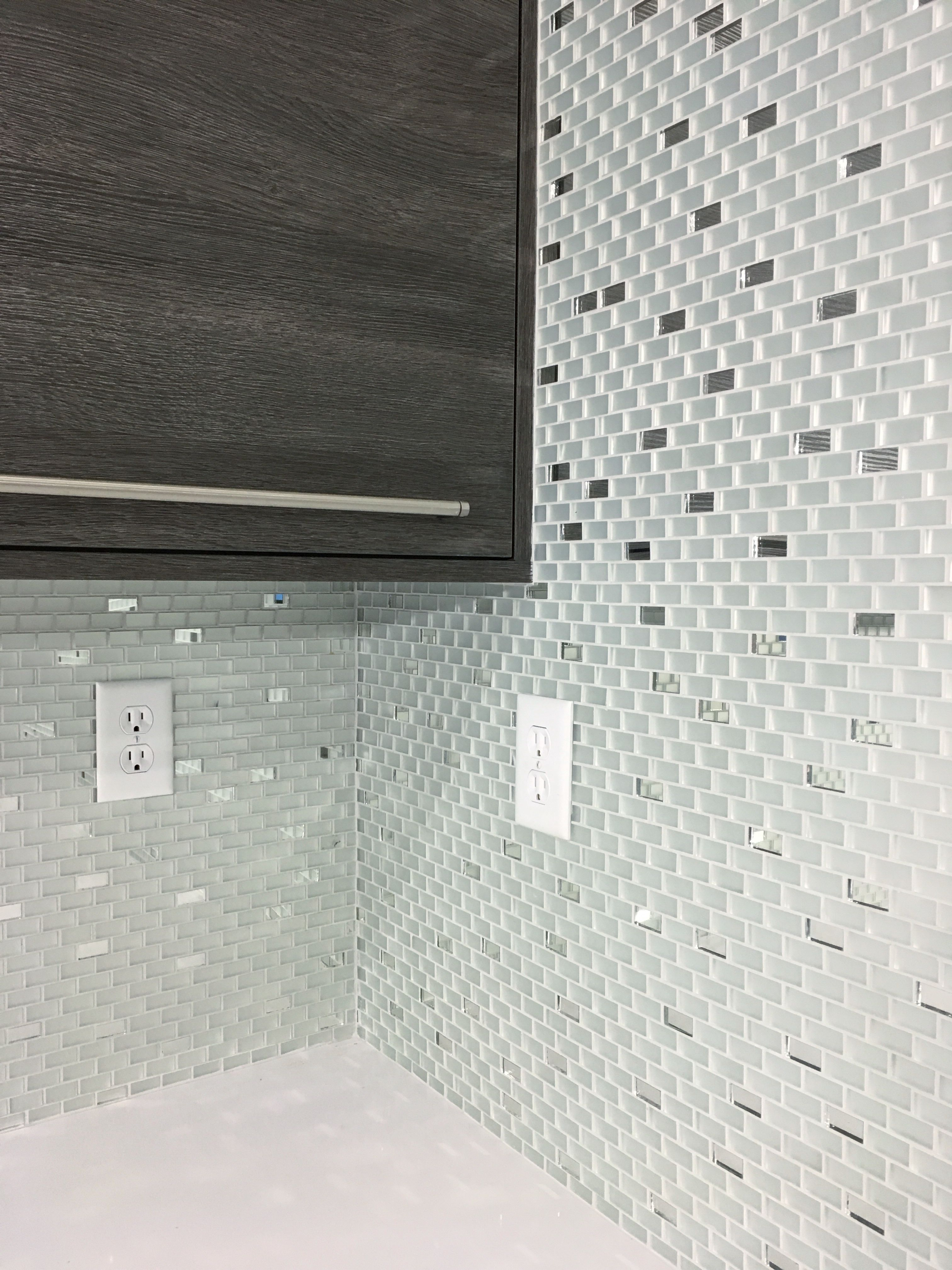 Our frosted mirror glass tile backsplash with regular silver our frosted mirror glass tile backsplash with regular silver mirror tiles can dailygadgetfo Gallery