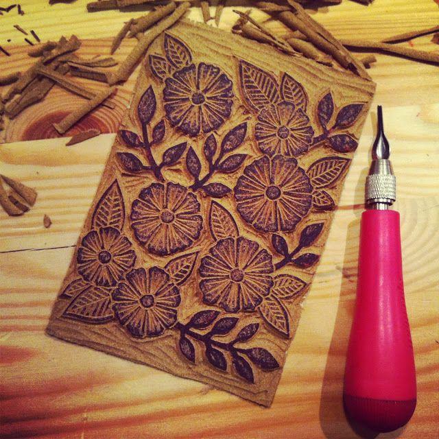 Flower Block Print Handmade Cards In 2019 Linocut