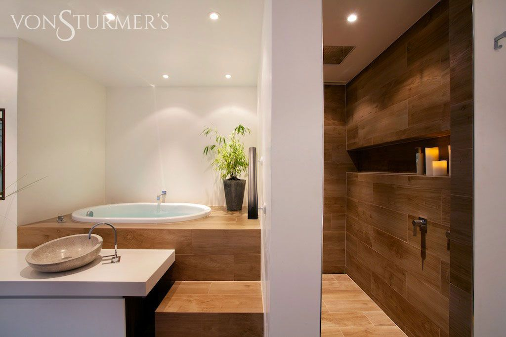 Von Sturmer bathroom - Etic Noce wood look tile for a Japanese