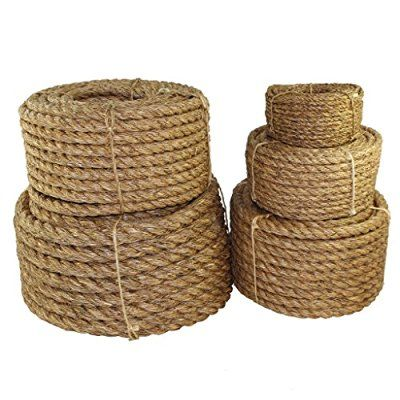 """SGT KNOTS Twisted Manila Rope 1/4"""", 5/16"""", 3/8"""", 1/2"""", 5/8"""", 3/4"""", 1"""", 1.25"""", 1.5"""", 2"""", 3"""" x Several Lengths (5/8""""x25')"""