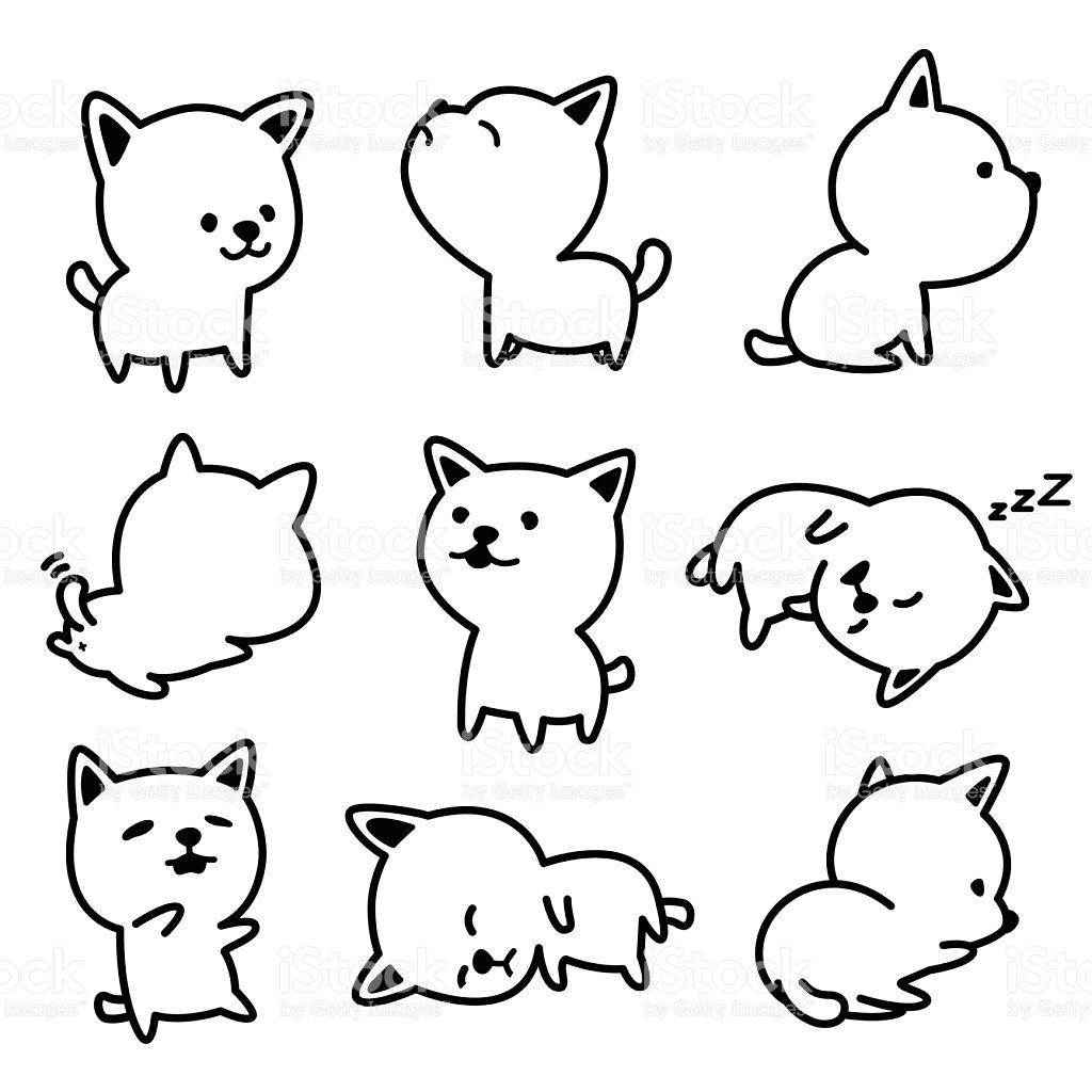 Cute Dog Vector Illustrations Black And White In