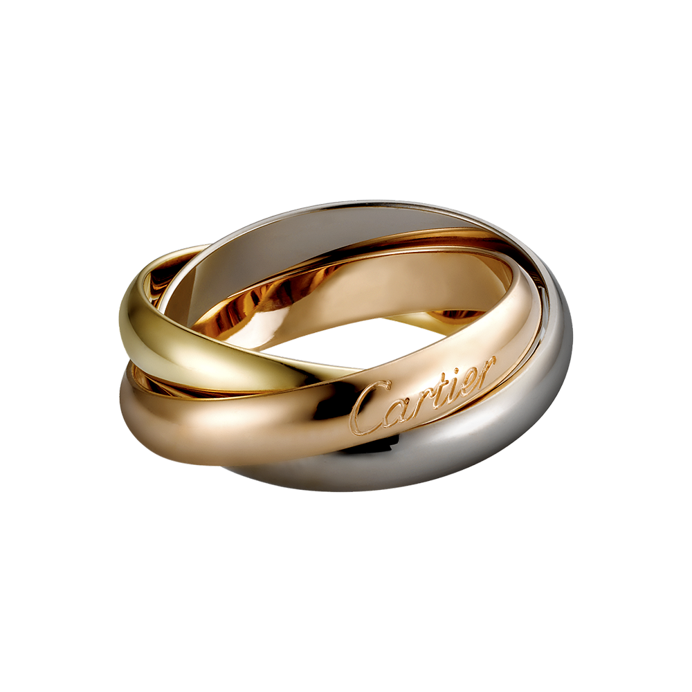 Trinity De Cartier Ring Medium Model 18k White Gold 18k Pink Gold