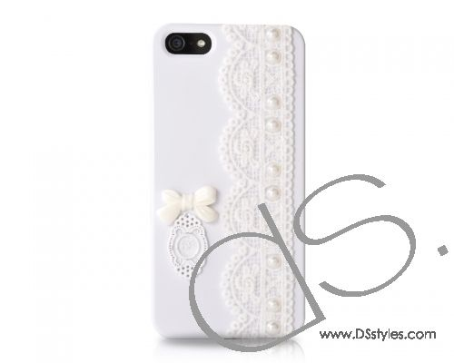 Lace Pearl Series iPhone 5 Cases - Bow White
