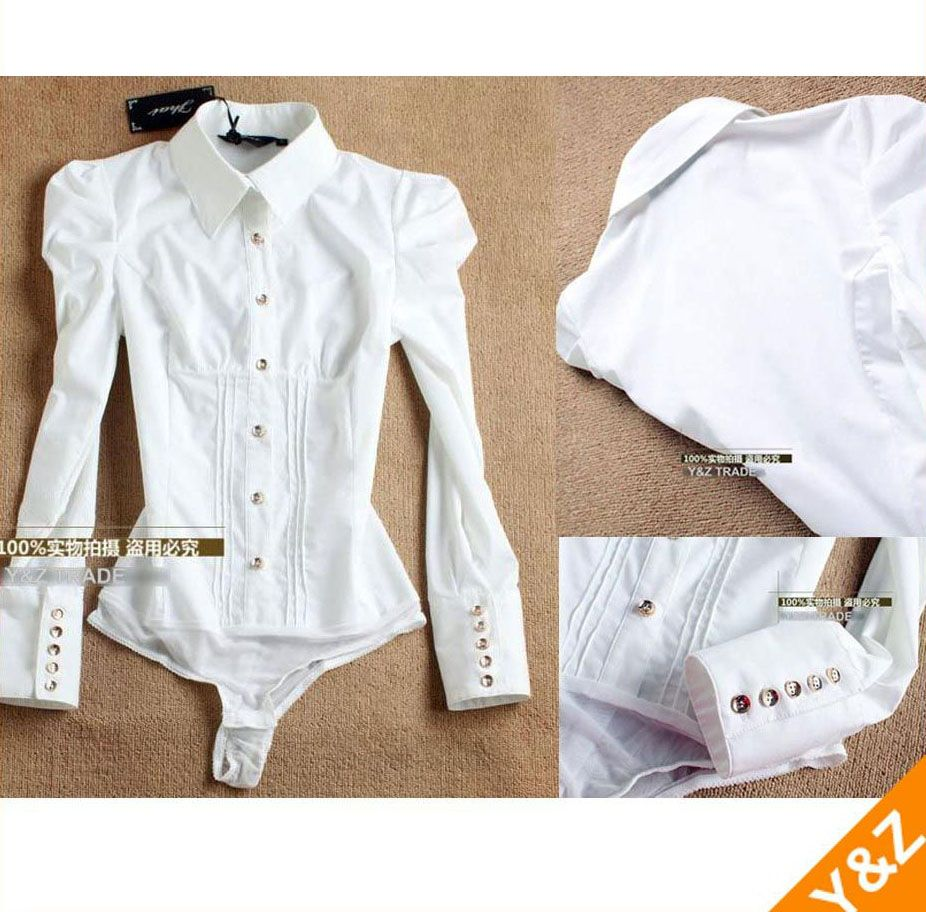 8c7460e2 New OL women puff sleeve bodysuit button-down slim white shirts blouse tops  LT27