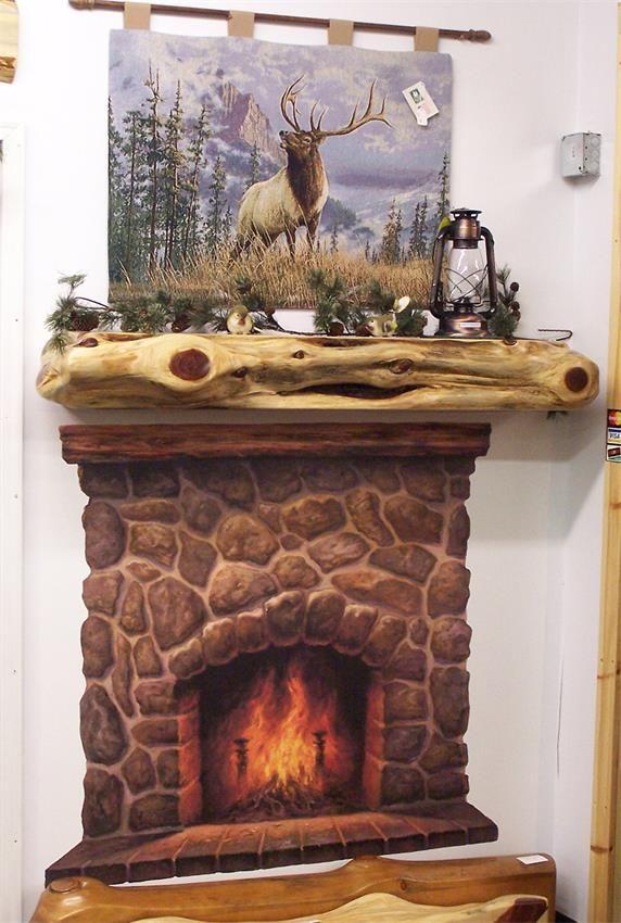 Amish Cedar Log Fireplace Mantel Cabin Fireplace Mantle
