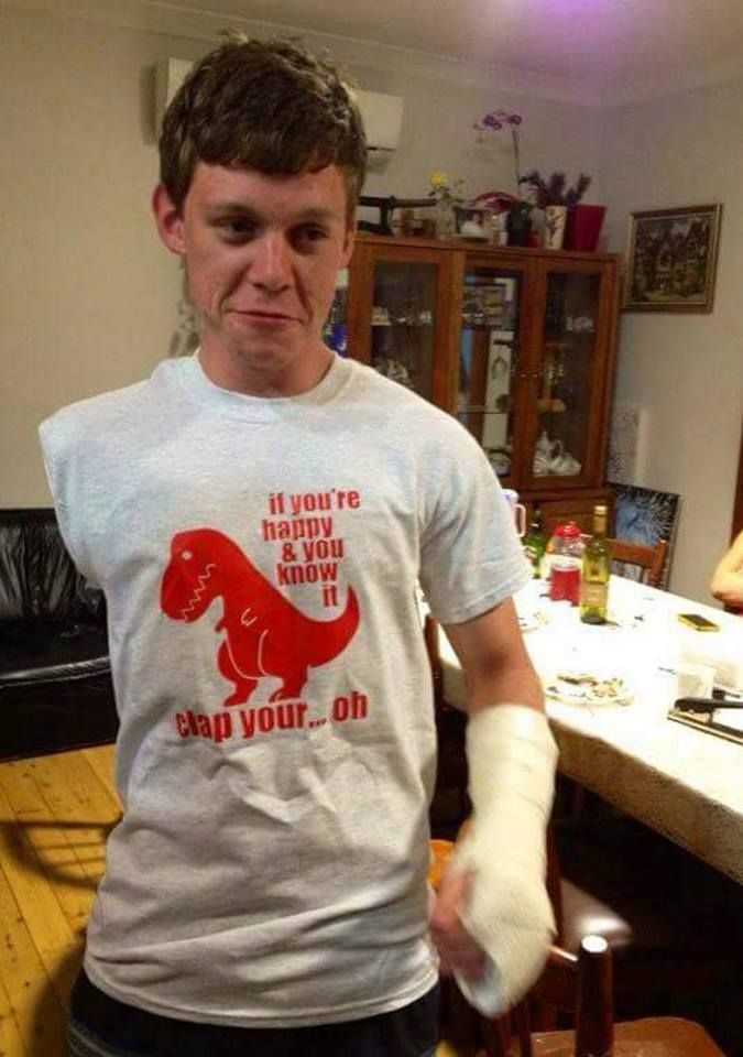 Lost my right arm then broke my left hand  Friend gave me this shirt