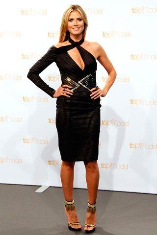 Heidi Klum One Shoulder Short Black Dress