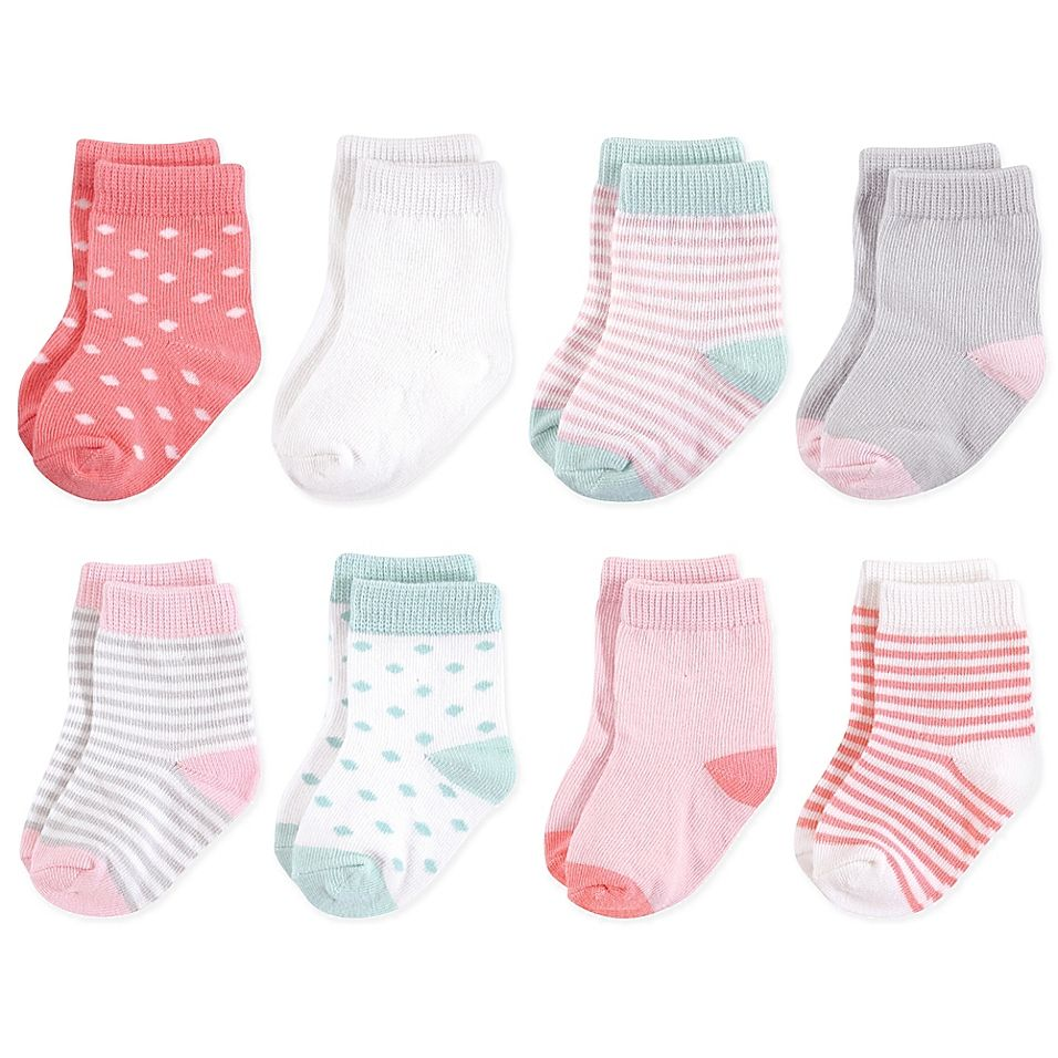Touched By Nature Size 6 12m 8 Pack Stripe Diamond Print Organic Cotton Socks In Pink Cotton Socks Organic Cotton Mint Stripes