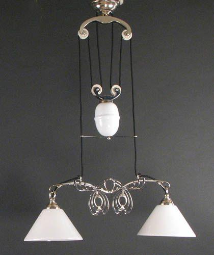 Pw Antique Lighting Reproduction Art Nouveau Style Two Light Pulley Fixture