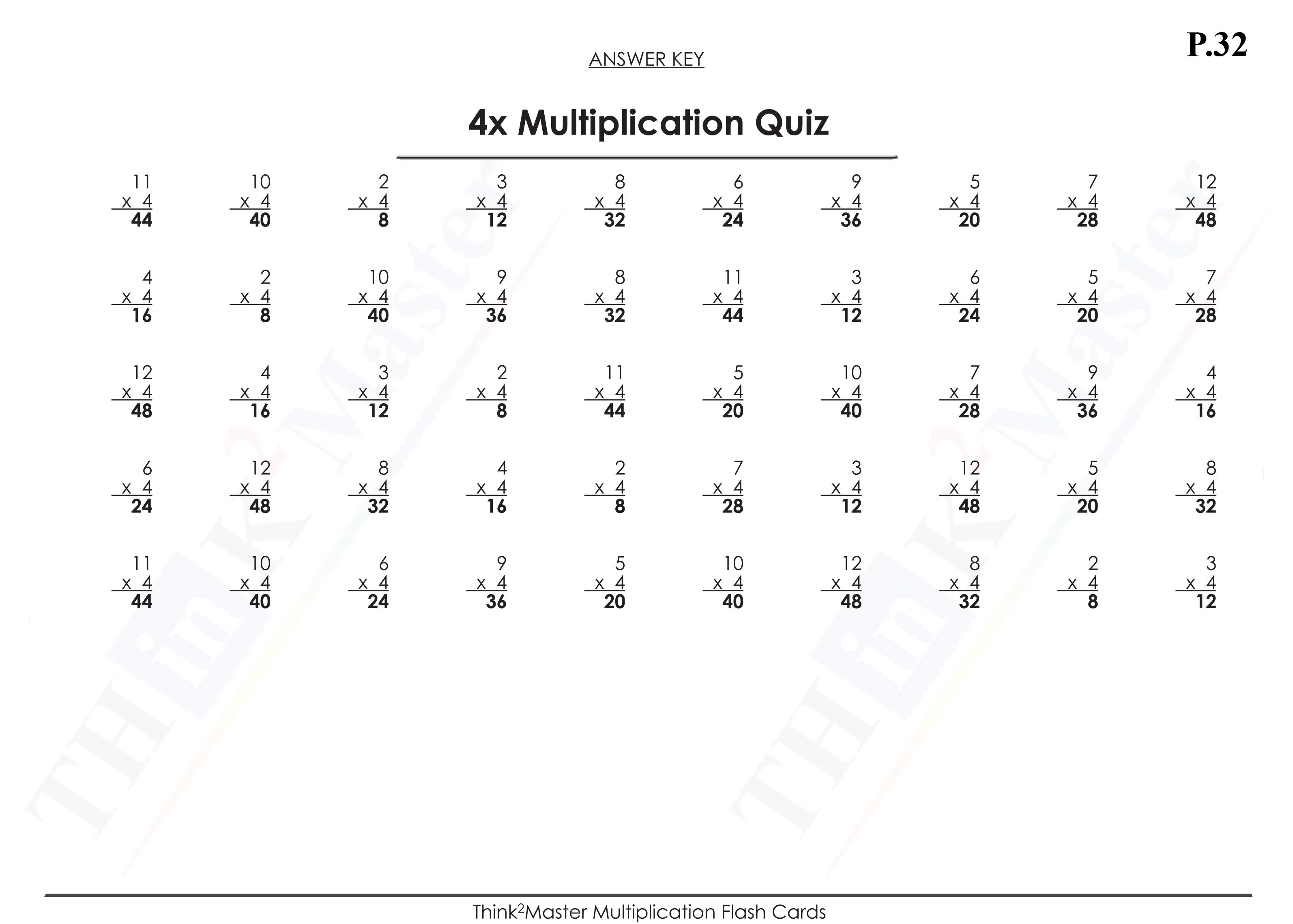 Free Printable 4x Multiplication Quiz Answers
