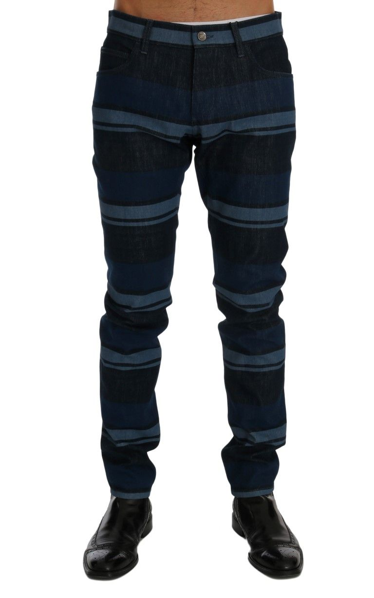 2cb369bc95 #DolceGabbana #JeansPants Blue Striped 14 GOLD Slim Fit Cotton Jeans |  #Blue Dolce & Gabbana Gorgeous brand new with tags, 100% Authentic DOLCE &  GABBANA ...