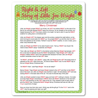 Printable Right Left Little Joe Wright Christmas Gift Games Christmas Gift Exchange Games Left Right Christmas Game