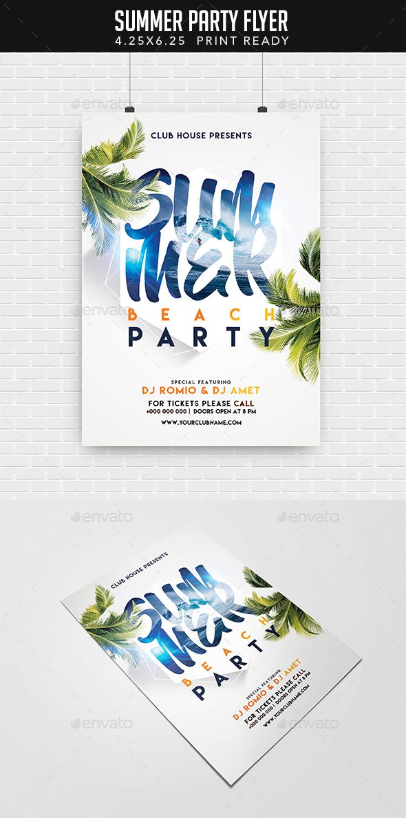Summer Party Flyer | Party flyer, Summer parties and Flyer template