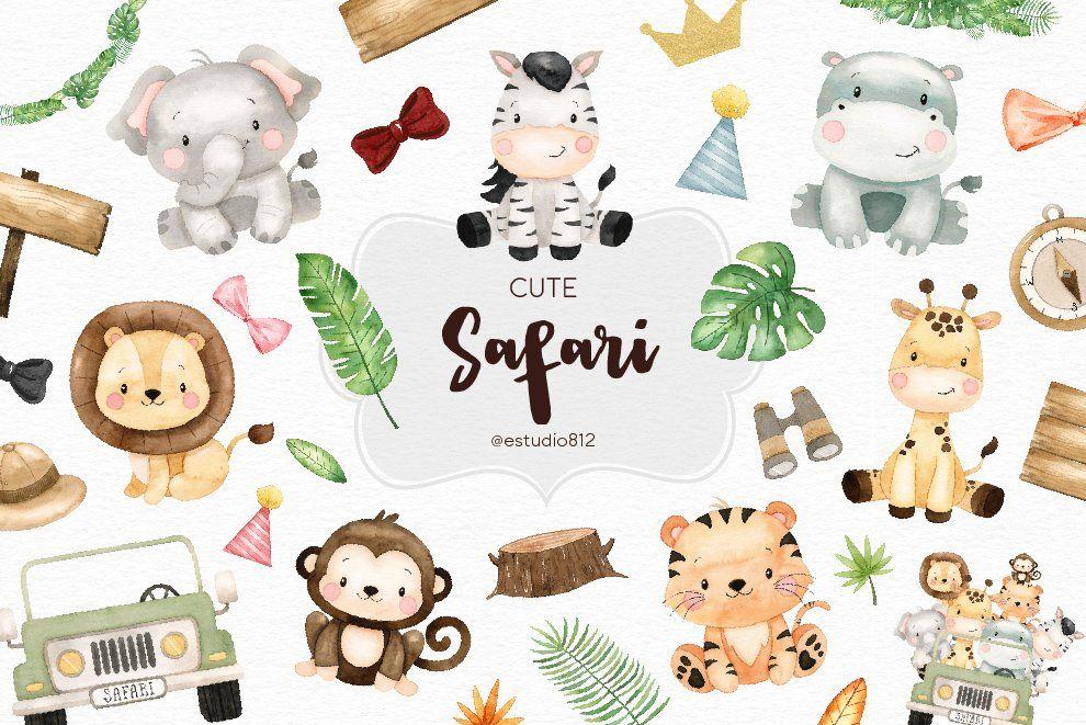 18++ Watercolor safari animals clipart info