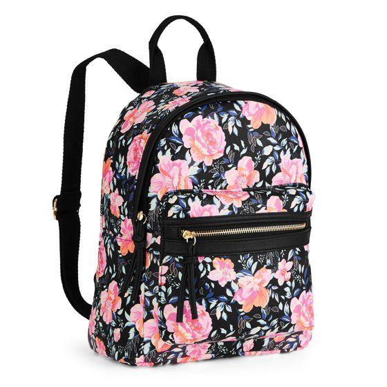1fbe638b441 No Boundaries Black Floral Mini Dome Backpack at Walmart.com