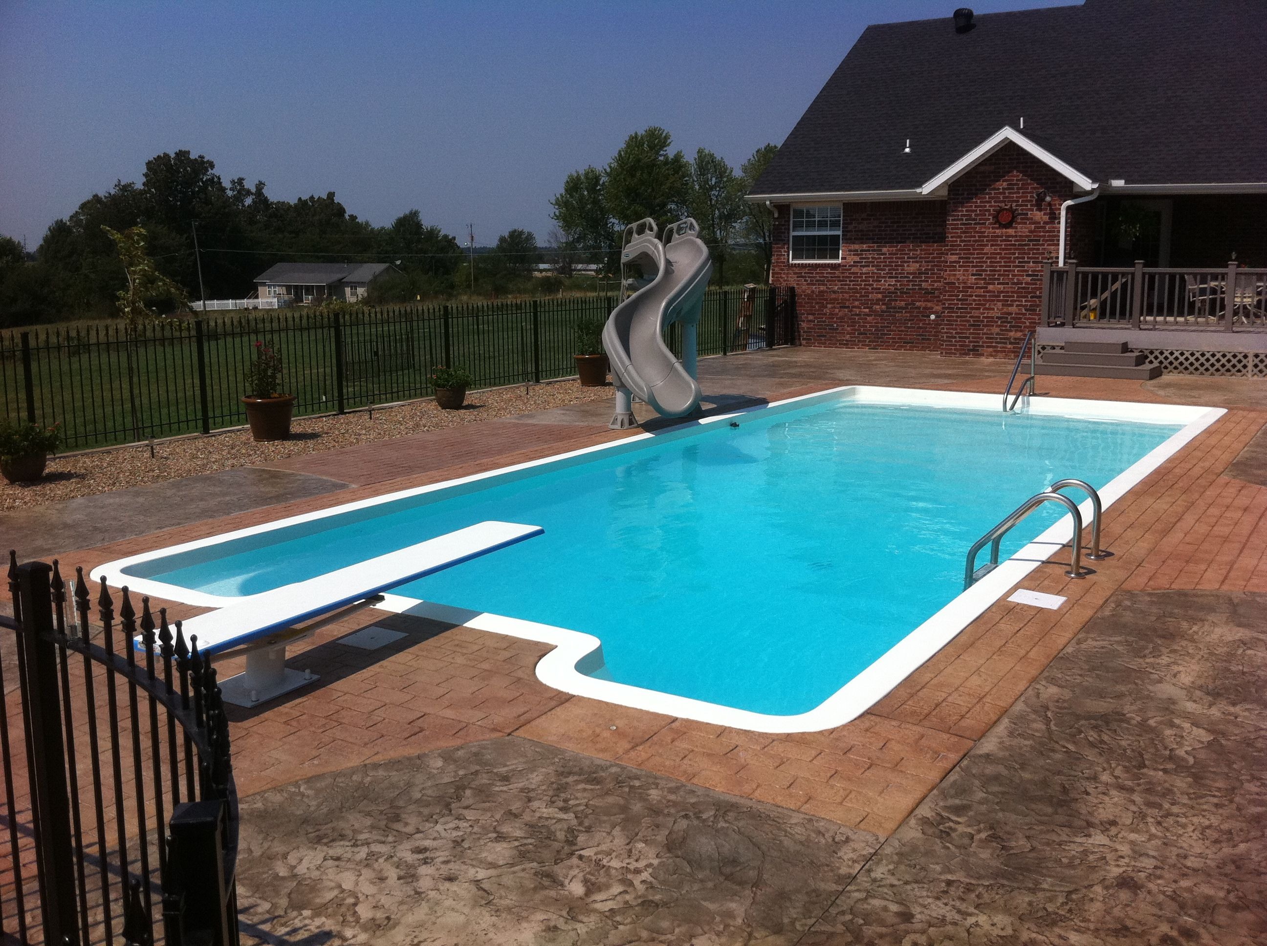 Large Fiberglass Pool With Slide And Diving Board Swimming Pools Backyard Rectangular Pool Backyard Pool