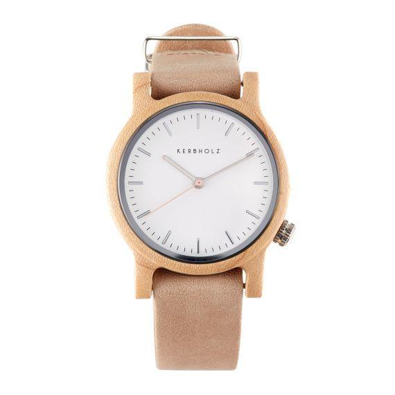 Armbanduhr, Lederarmband, Holzgehäuse Vorderansicht