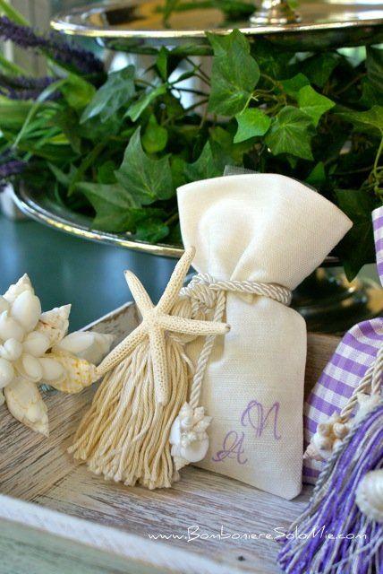 Sacchetto misto lino con nappa Stella Marina