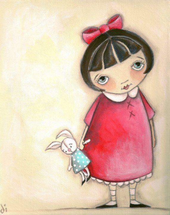Print of my original painting B is for Bunny by DUDADAZE on Etsy,   ©dianeduda/dudadaze