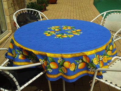 Large Round Coated Tablecloth With Lemon Design From France.