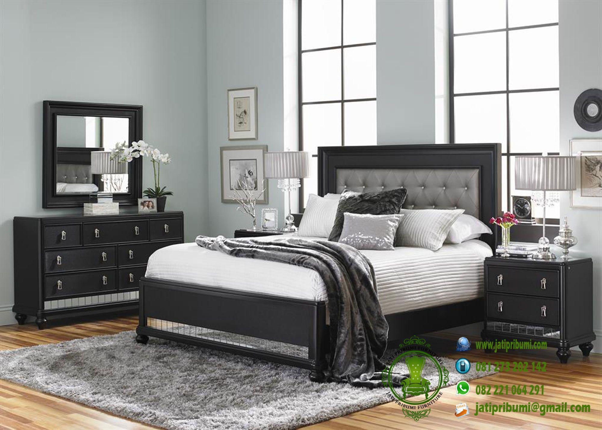Set Tempat Tidur Minimalis Warna Hitam Set