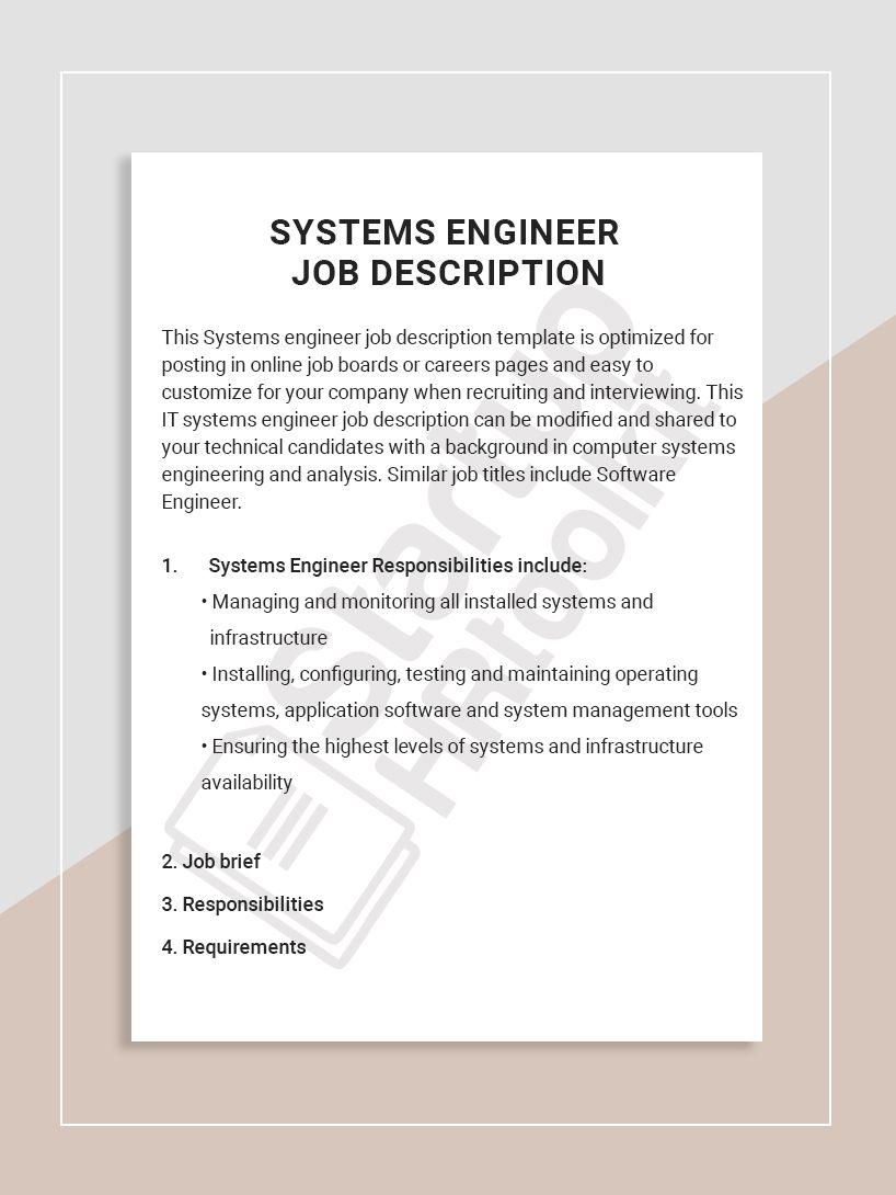 This Systems engineer job description template is