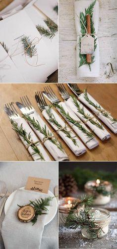 élégant mariage à feuilles persistantes idées de décoration de mariage élégant hiver à …