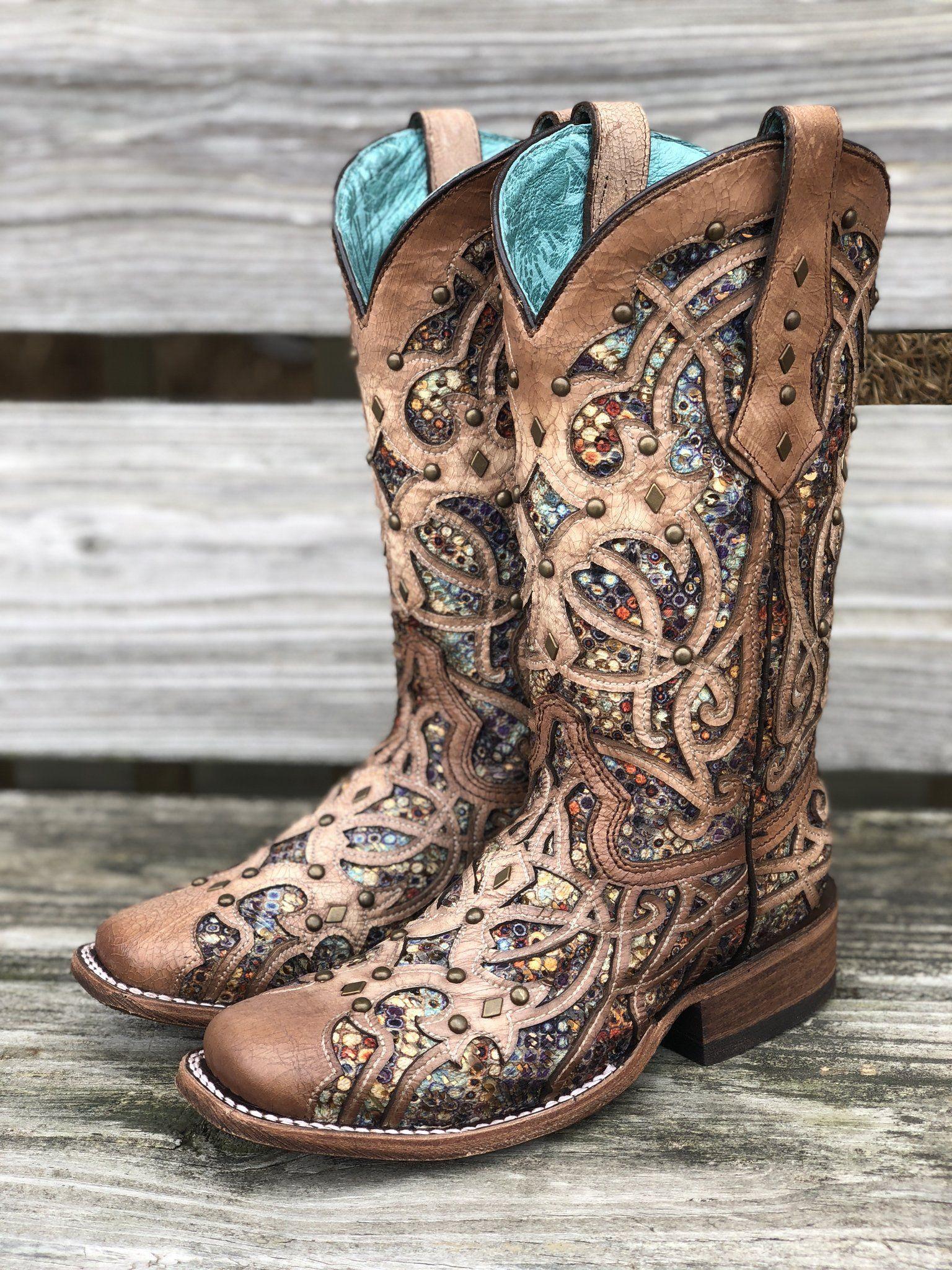 Corral Women's Bone & Multi Color Inlay Square Toe Western Boots C3405 2