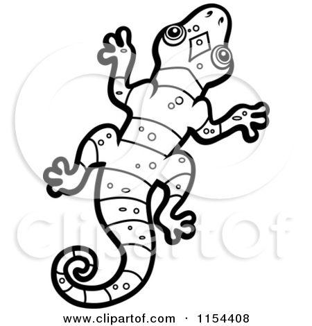 Cartoon Clipart Of A Black And White Lizard Vector Outlined Cartoon Lizard Cartoon Clip Art Art