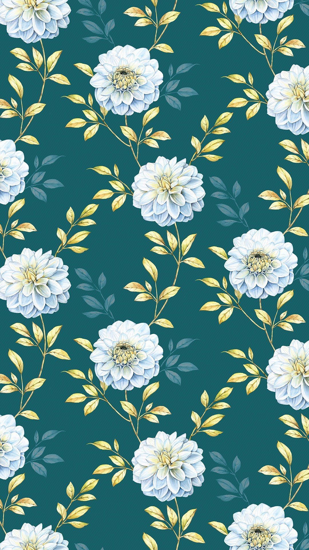 Floral Navy Blue And White Iphone Background · Artistic
