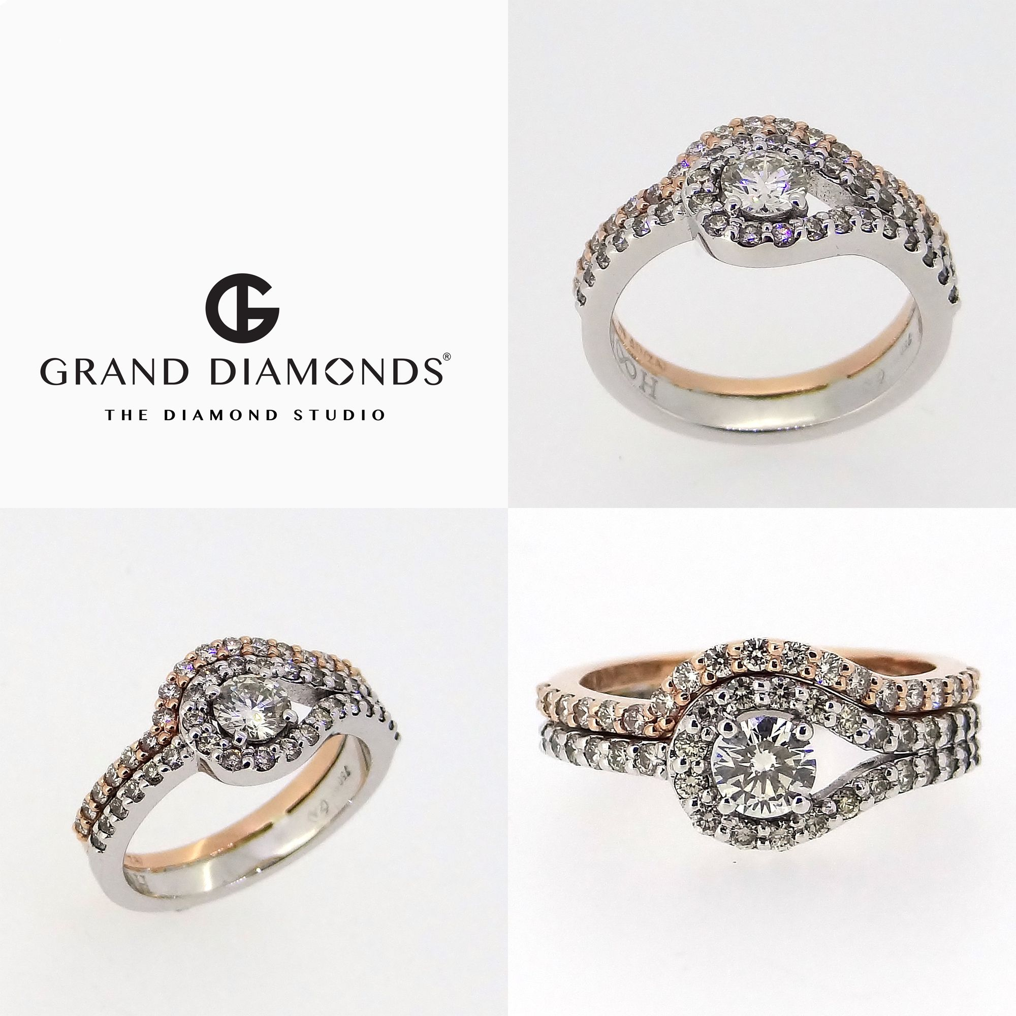 Pin by grand diamonds the diamond studio on personalised rings