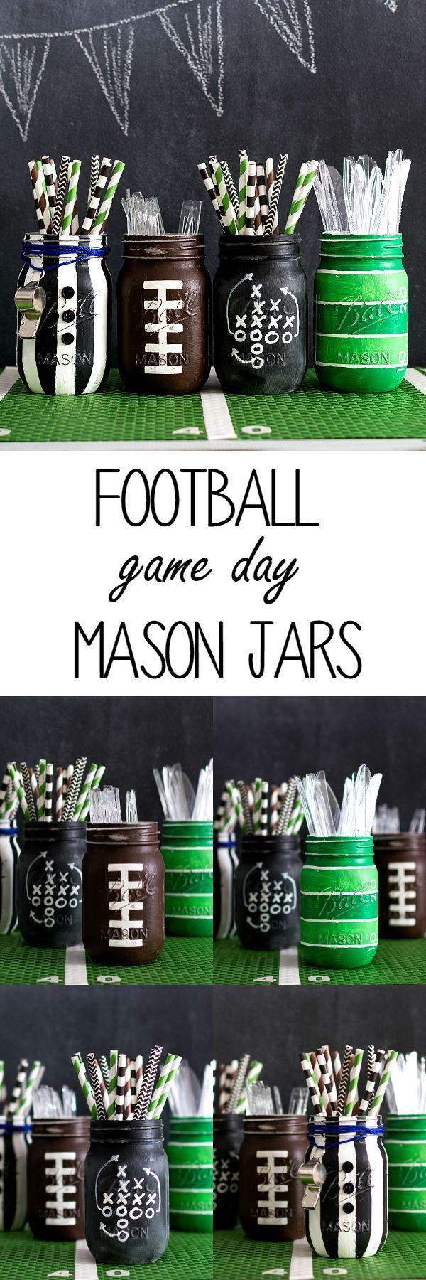 Football party mason jars mason jar crafts super bowl party and