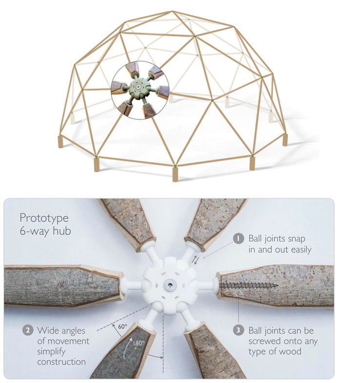 2x6 Heavy Duty Wood Geodesic Hub Kit: Pin By Kristine C. Walløe On Architecture: Project 5.1