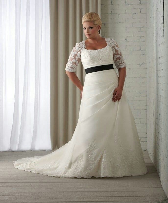 Plus size wedding dress with lace sleeves. Would change the sash to ...