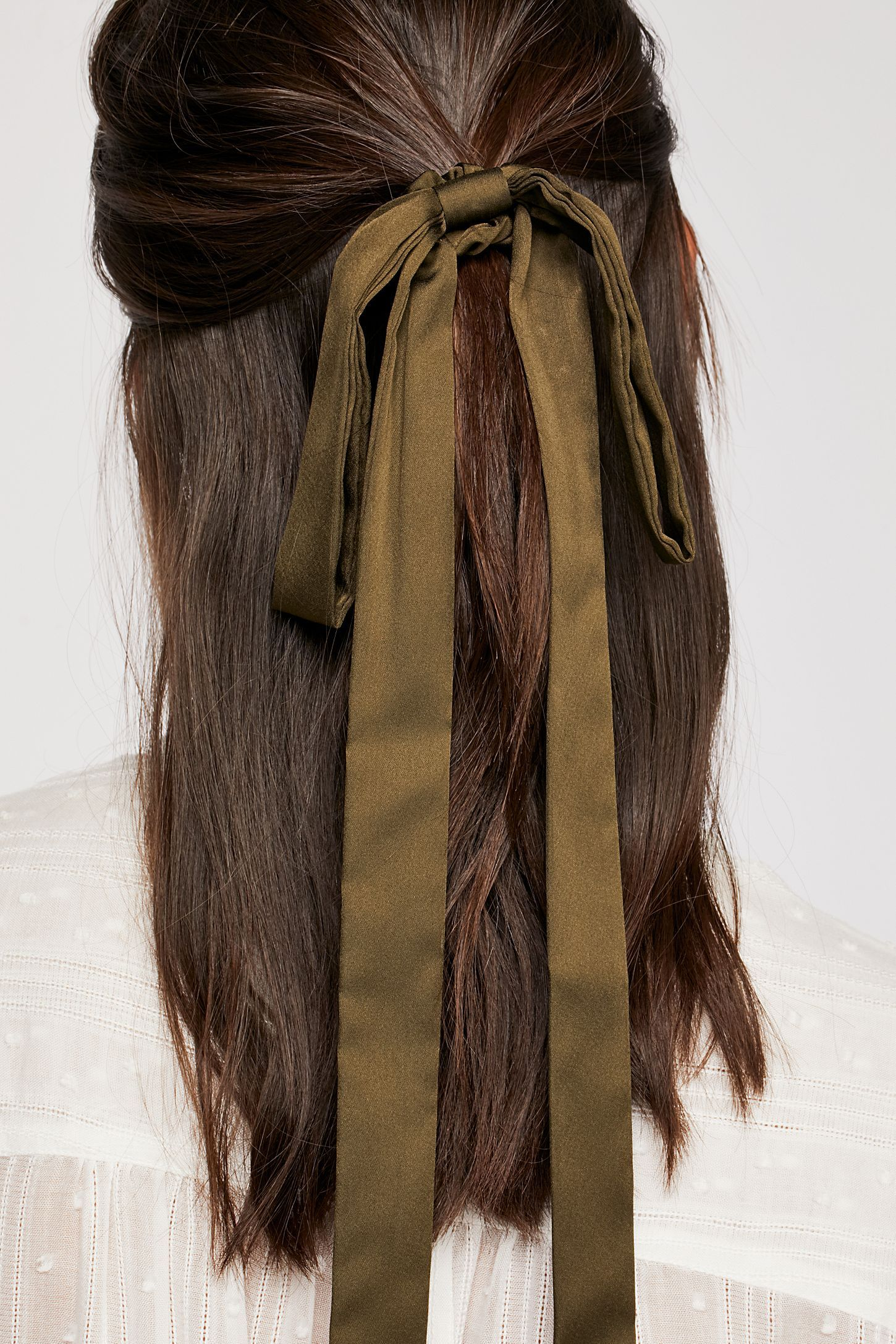 Ribbon Scarf Pony Hair Styles Long Hair Styles Thick Hair Styles