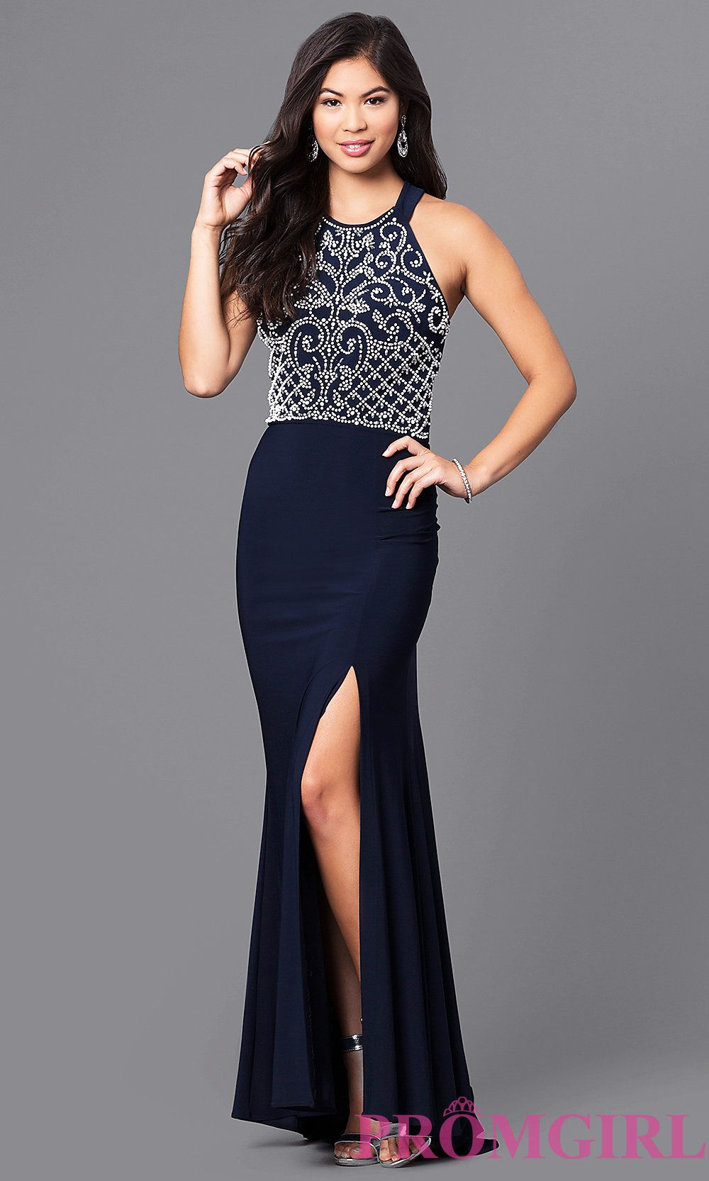 e422b3b4d Image of long navy blue prom dress with white beaded bodice. Front Image